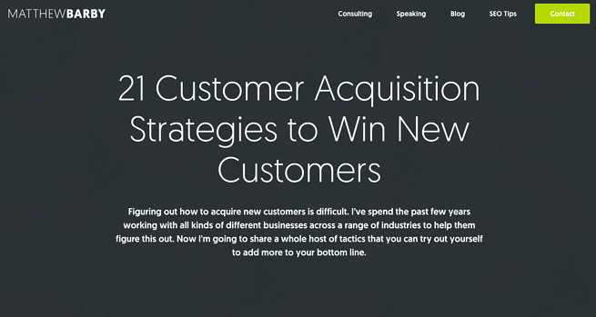Matthew Barby's Customer Acquisition Strategies